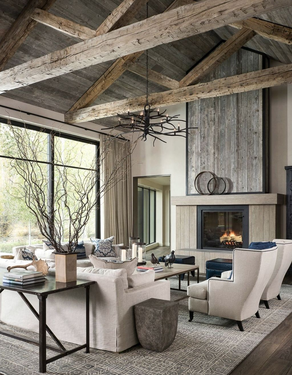 Incredible Rustic Farmhouse Living Room Design Ideas 21