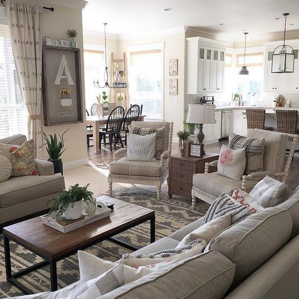 Incredible Rustic Farmhouse Living Room Design Ideas 26