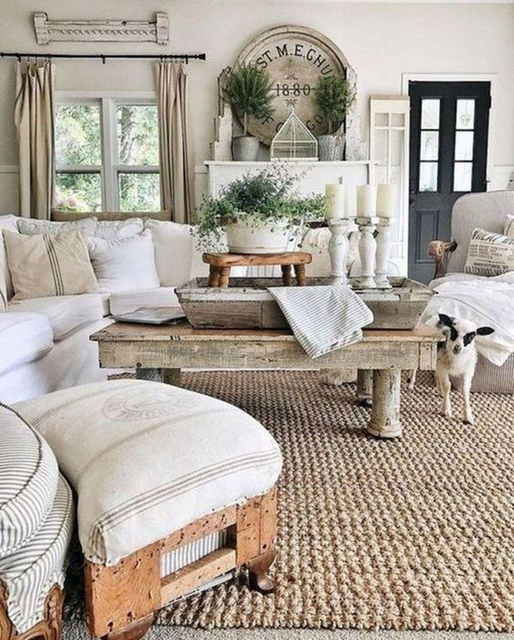 Incredible Rustic Farmhouse Living Room Design Ideas 30