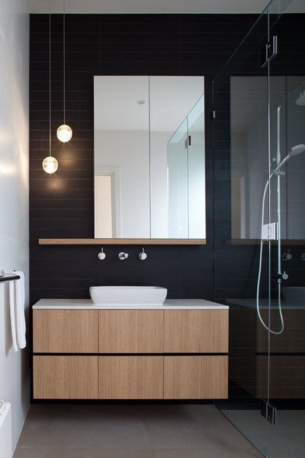Inspiring Black Powder Room Design Ideas With Modern Style 03