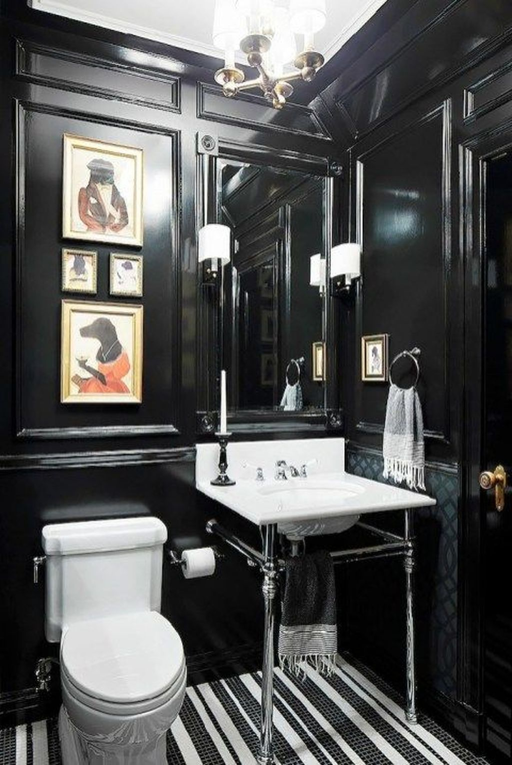 Inspiring Black Powder Room Design Ideas With Modern Style 06