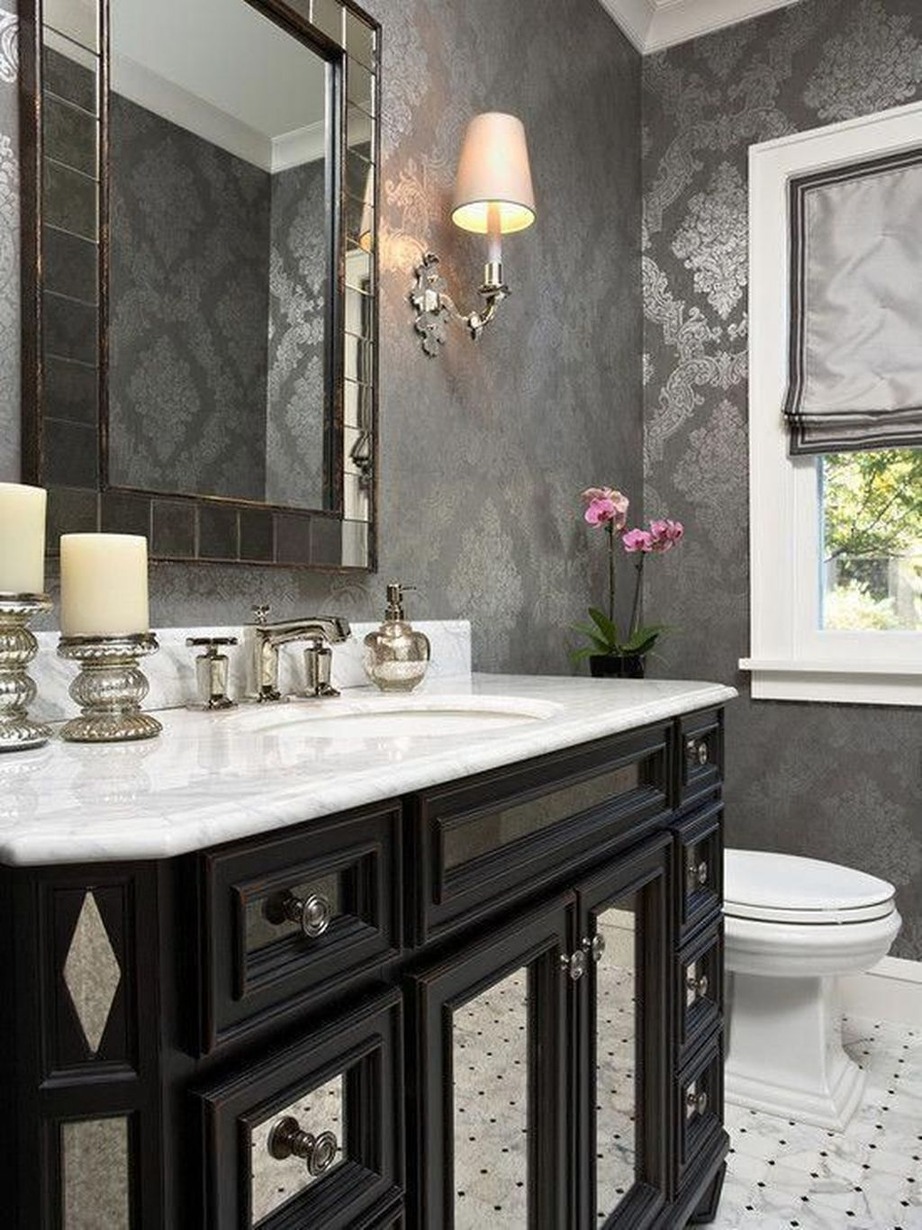 Inspiring Black Powder Room Design Ideas With Modern Style 09