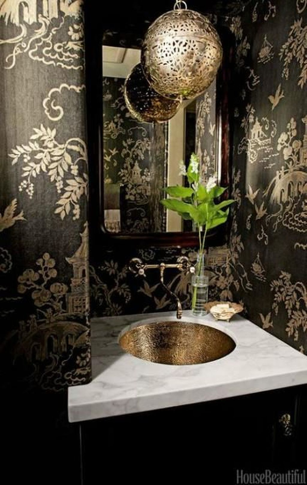 Inspiring Black Powder Room Design Ideas With Modern Style 10