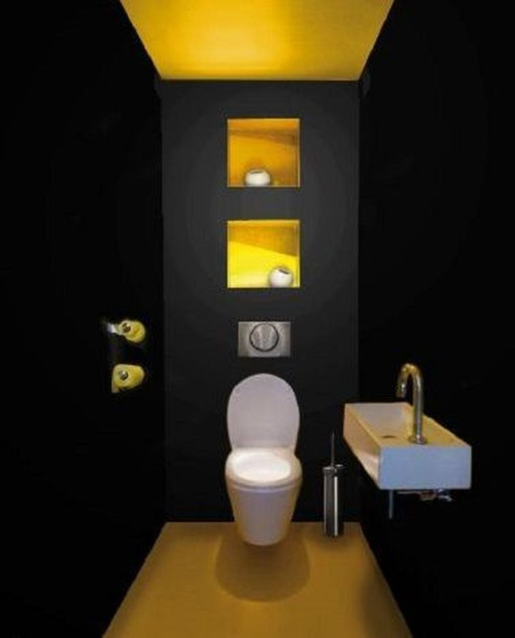 Inspiring Black Powder Room Design Ideas With Modern Style 11