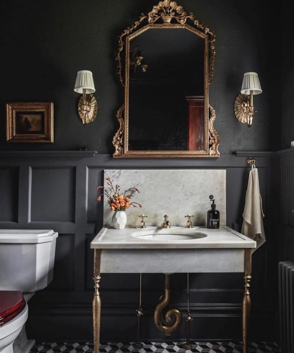 Inspiring Black Powder Room Design Ideas With Modern Style 16