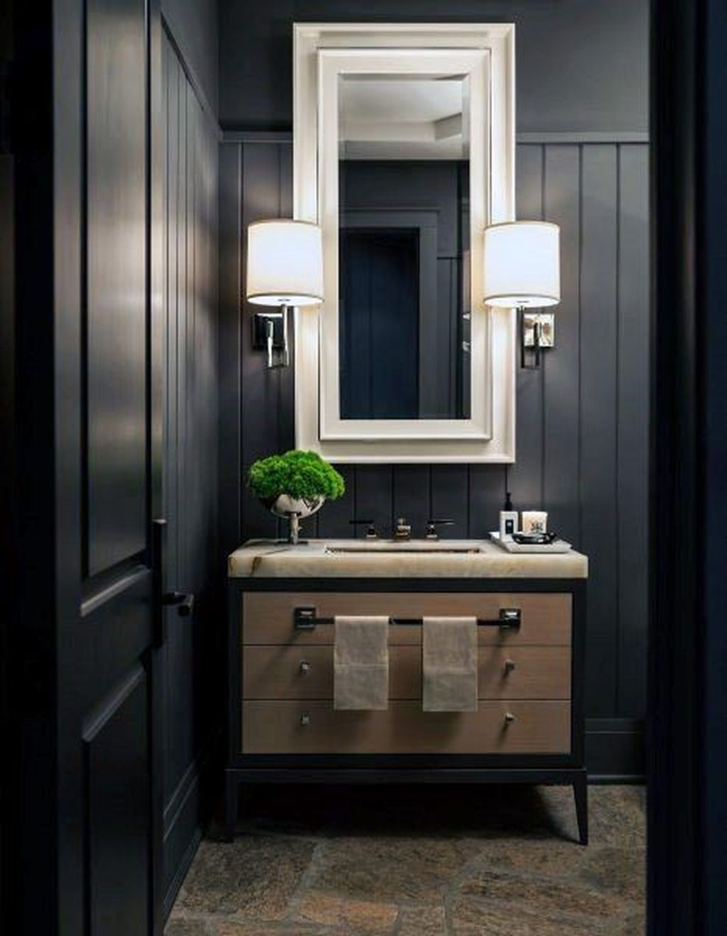Inspiring Black Powder Room Design Ideas With Modern Style 17