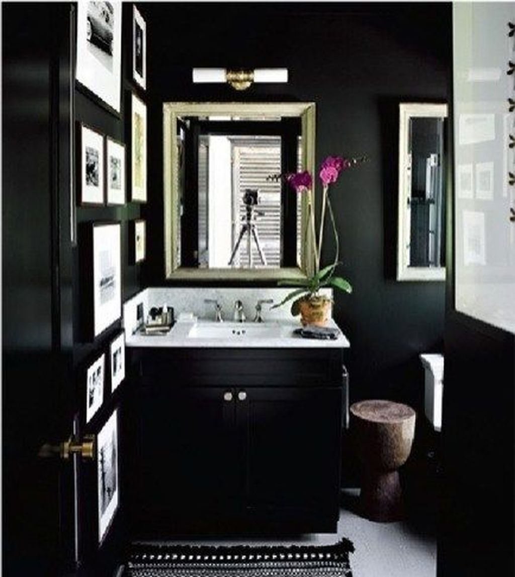 Inspiring Black Powder Room Design Ideas With Modern Style 19