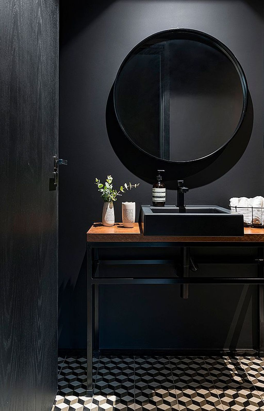 Inspiring Black Powder Room Design Ideas With Modern Style 25