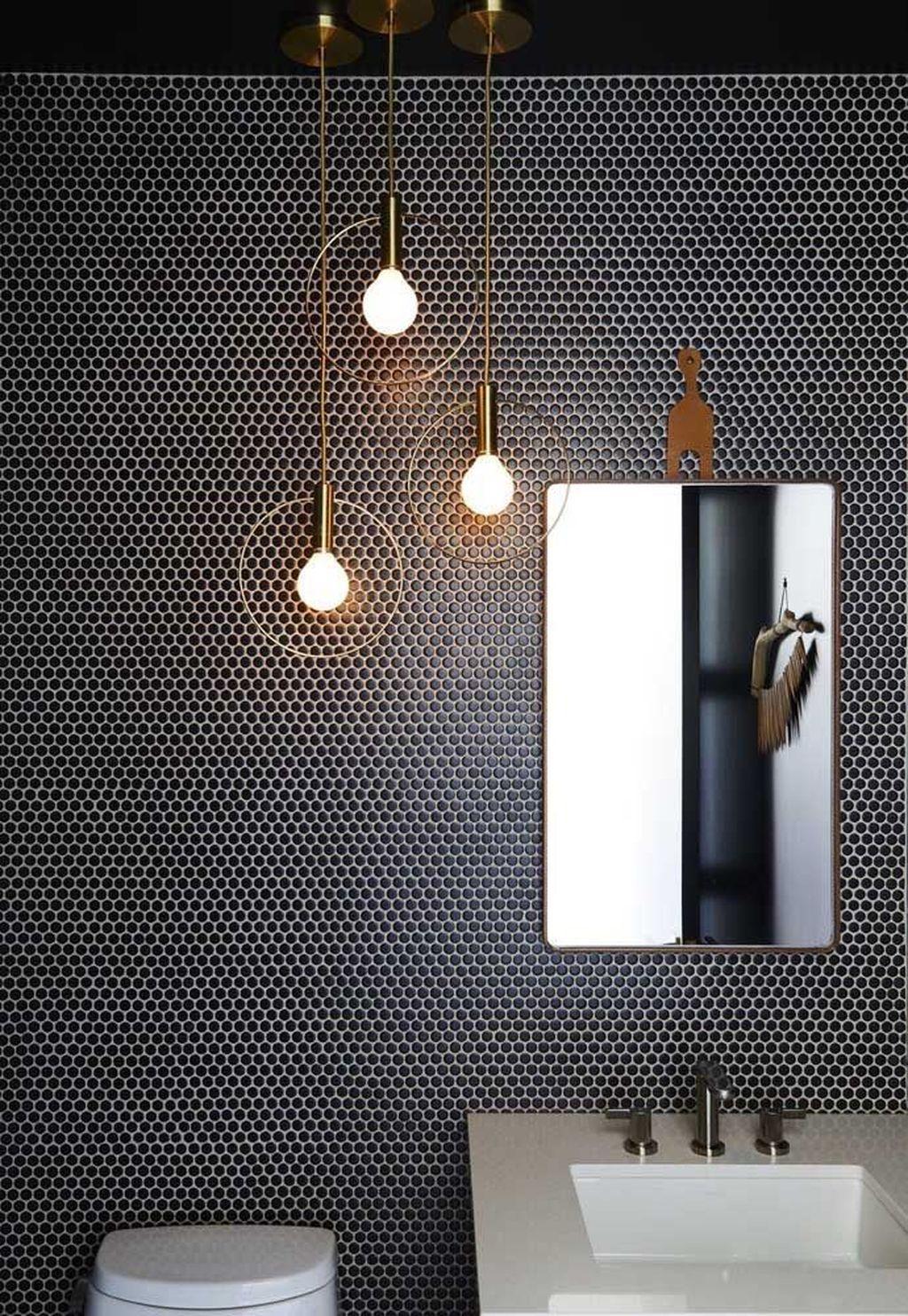 Inspiring Black Powder Room Design Ideas With Modern Style 27
