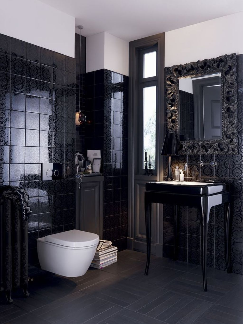 Inspiring Black Powder Room Design Ideas With Modern Style 31