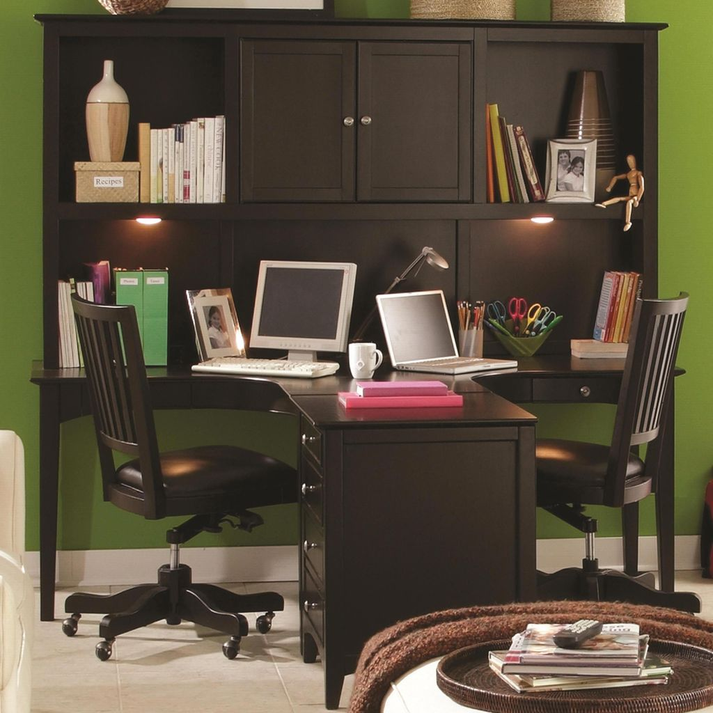 Inspiring Double Desk Home Office Design Ideas 02