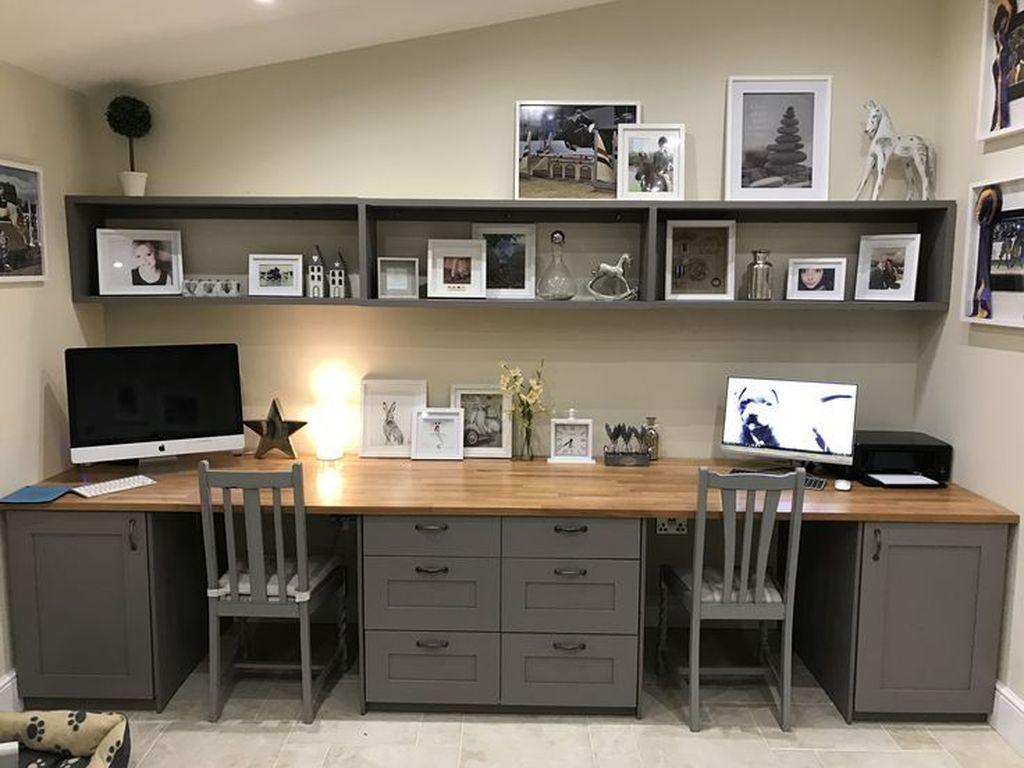 Inspiring Double Desk Home Office Design Ideas 03
