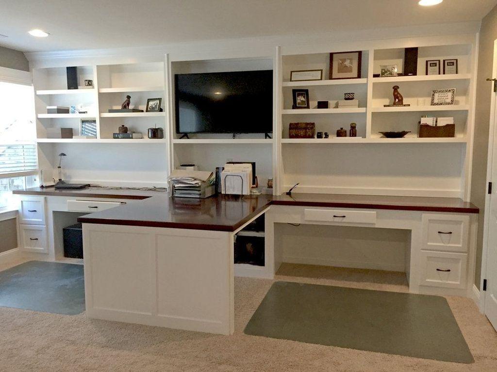 Inspiring Double Desk Home Office Design Ideas 14