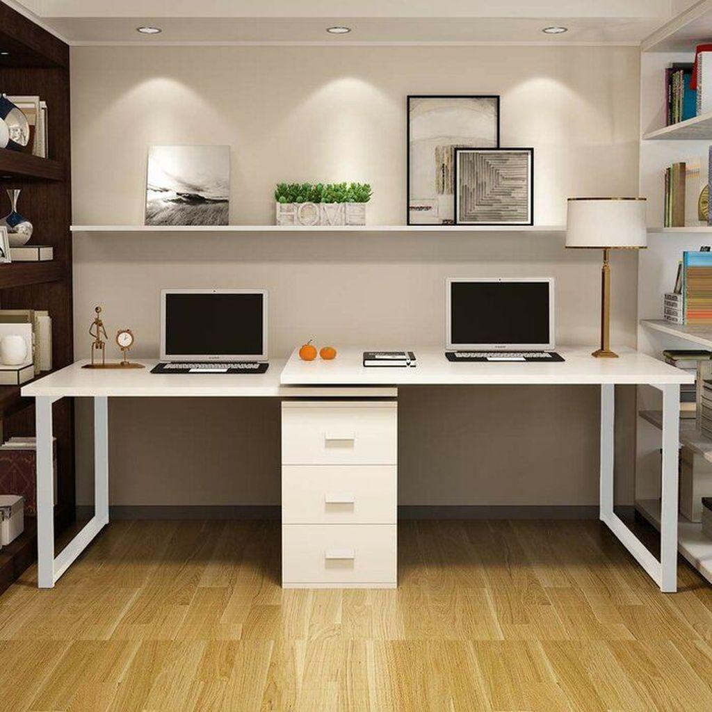 Inspiring Double Desk Home Office Design Ideas 15