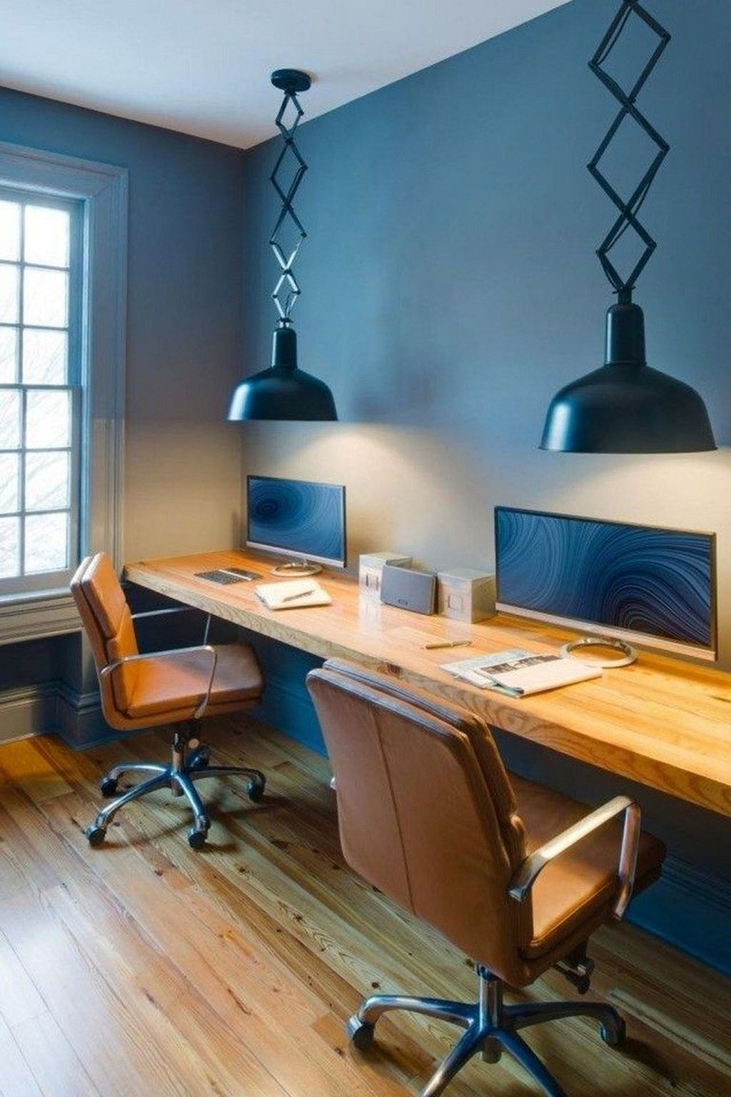 Inspiring Double Desk Home Office Design Ideas 21