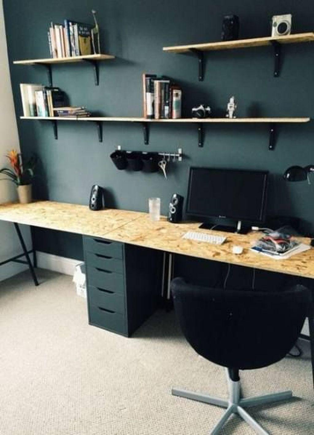 Inspiring Double Desk Home Office Design Ideas 26