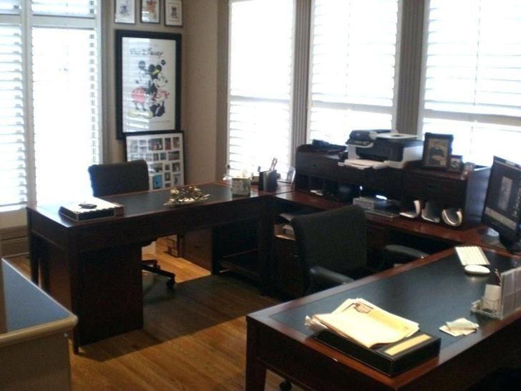 Inspiring Double Desk Home Office Design Ideas 27