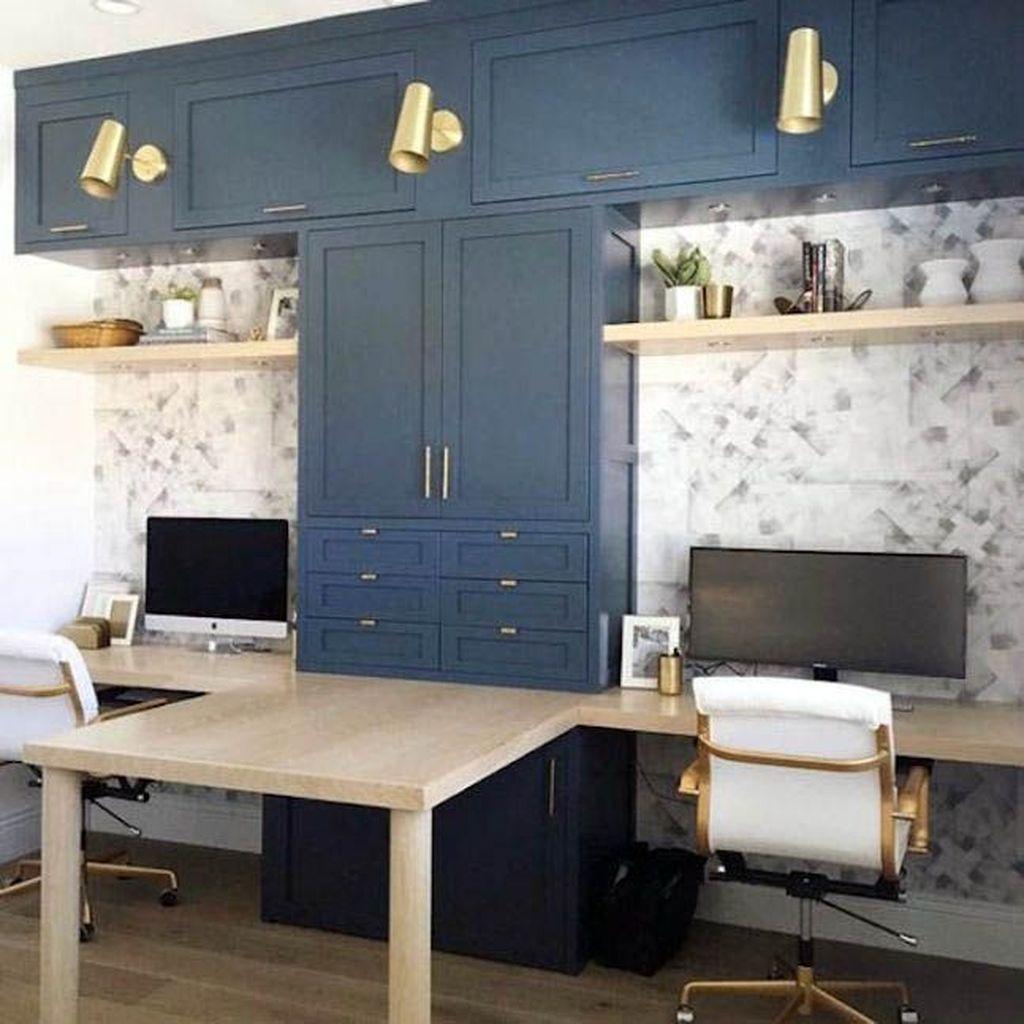Inspiring Double Desk Home Office Design Ideas 29
