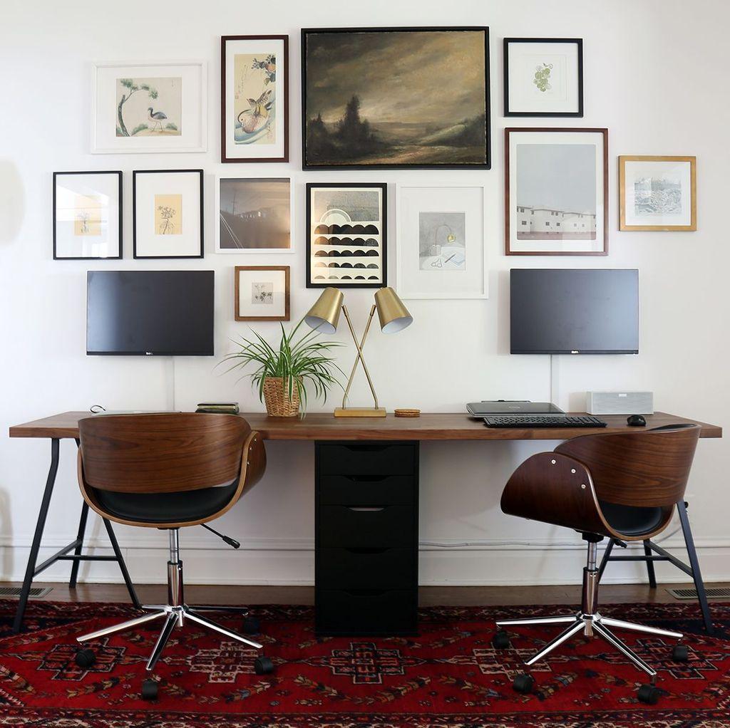 Inspiring Double Desk Home Office Design Ideas 30