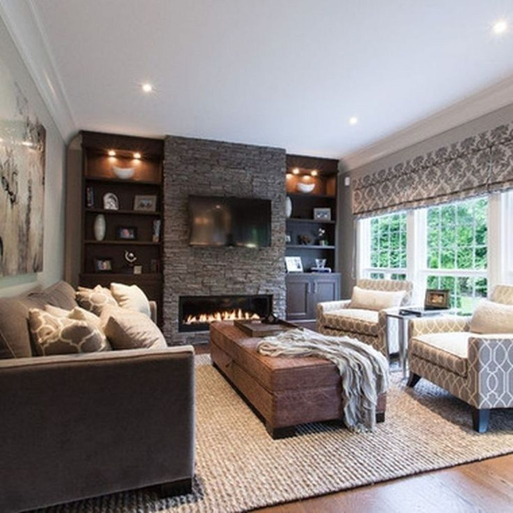 Awesome Living Room Design Ideas With Fireplace 23