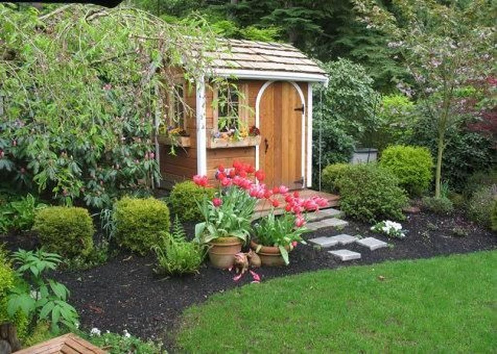 Beautiful Backyard Shed Landscaping Ideas 04