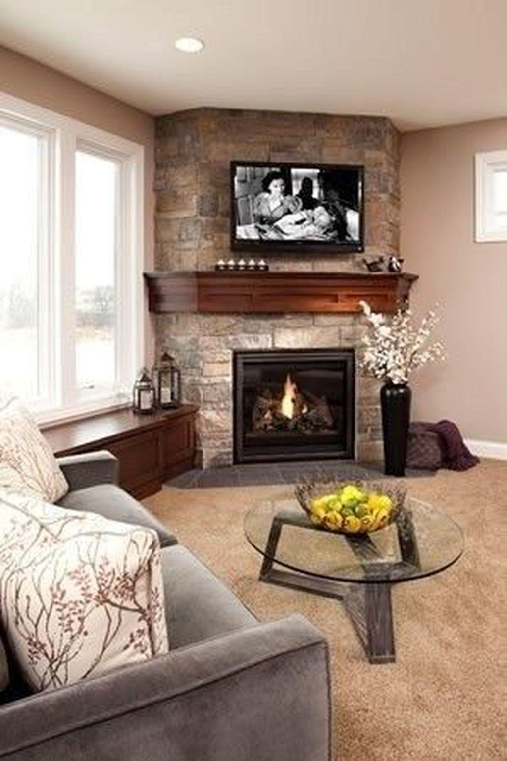 Stunning Corner Fireplace Design For Living Room 08