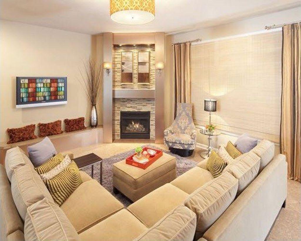 Stunning Corner Fireplace Design For Living Room 23