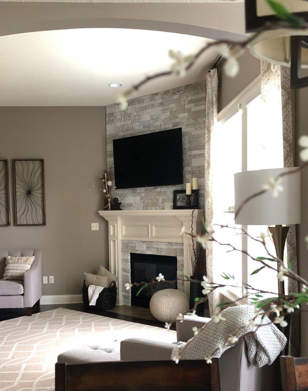 Stunning Corner Fireplace Design For Living Room 37