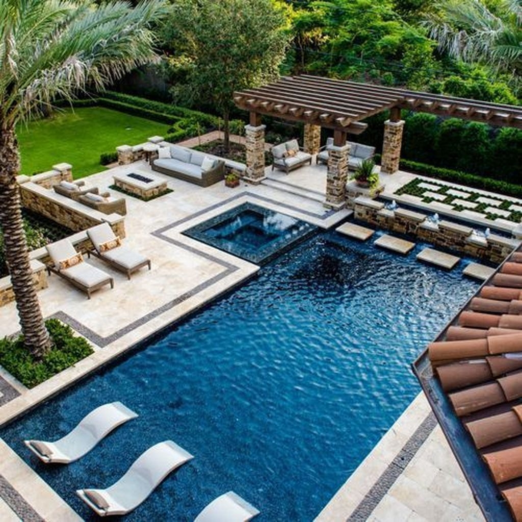 Totally Difference Pool Seating Ideas To Beautify Your Backyard 36