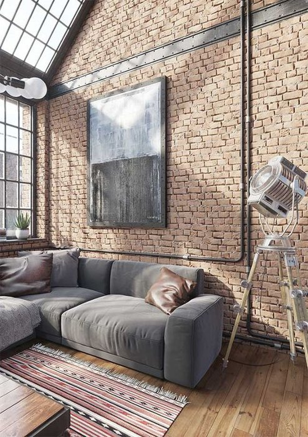 Gorgeous Industrial Living Room Design And Decoration Ideas 01