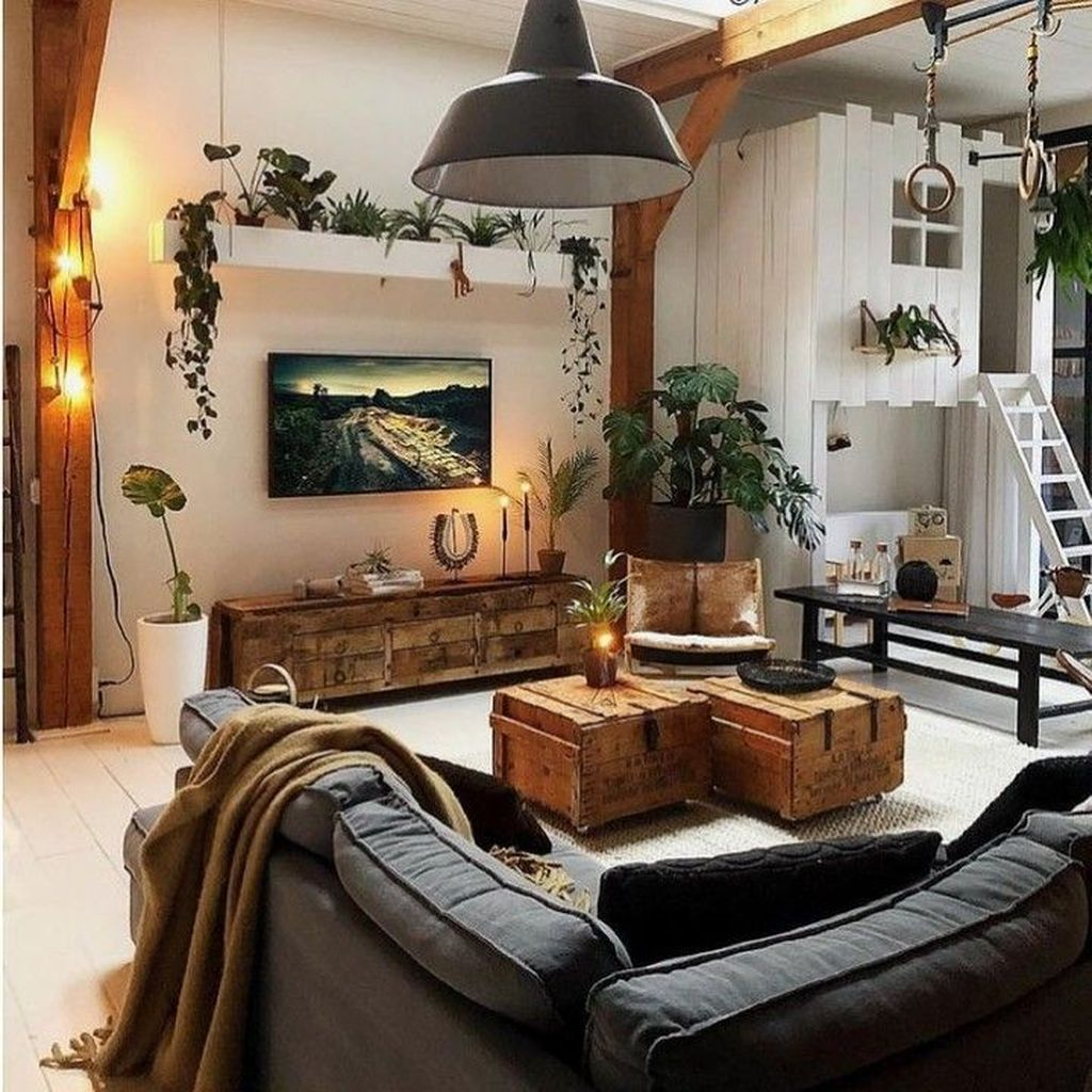 Gorgeous Industrial Living Room Design And Decoration Ideas 16