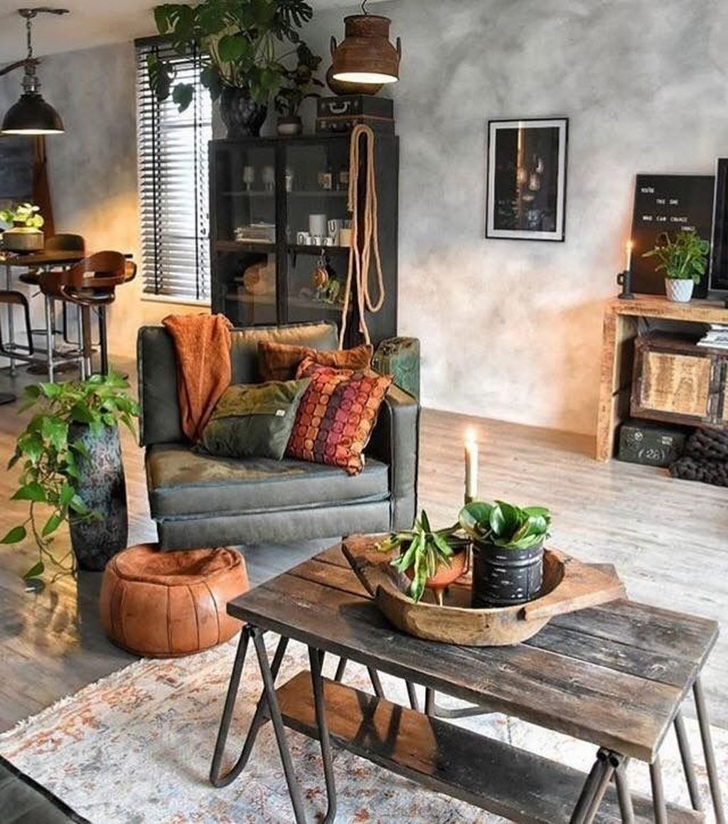 Gorgeous Industrial Living Room Design And Decoration Ideas 22