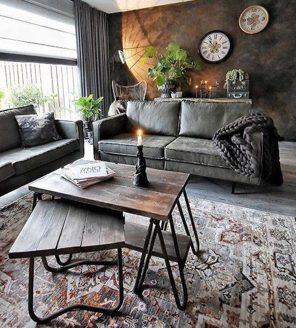 Gorgeous Industrial Living Room Design And Decoration Ideas 24