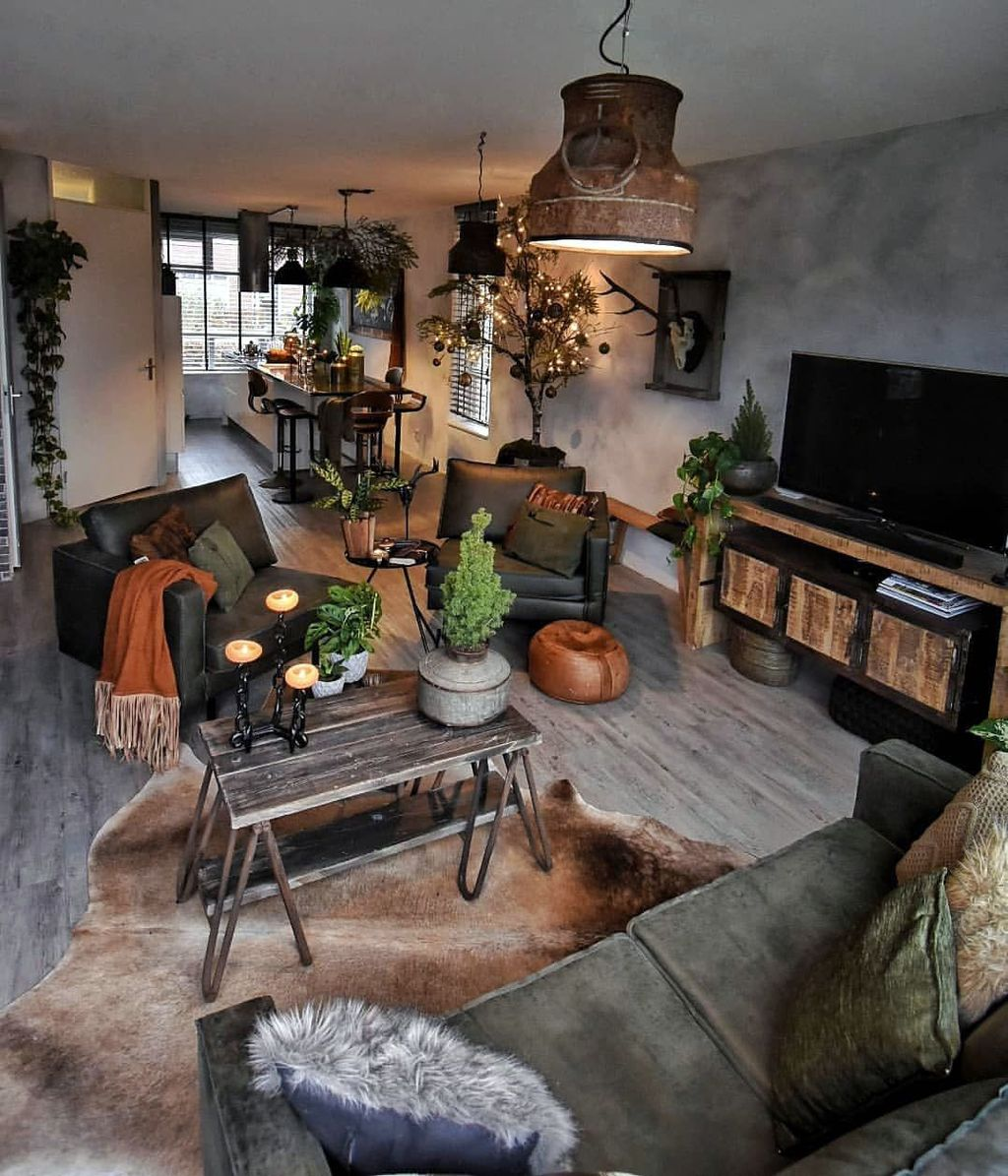 Gorgeous Industrial Living Room Design And Decoration Ideas 27