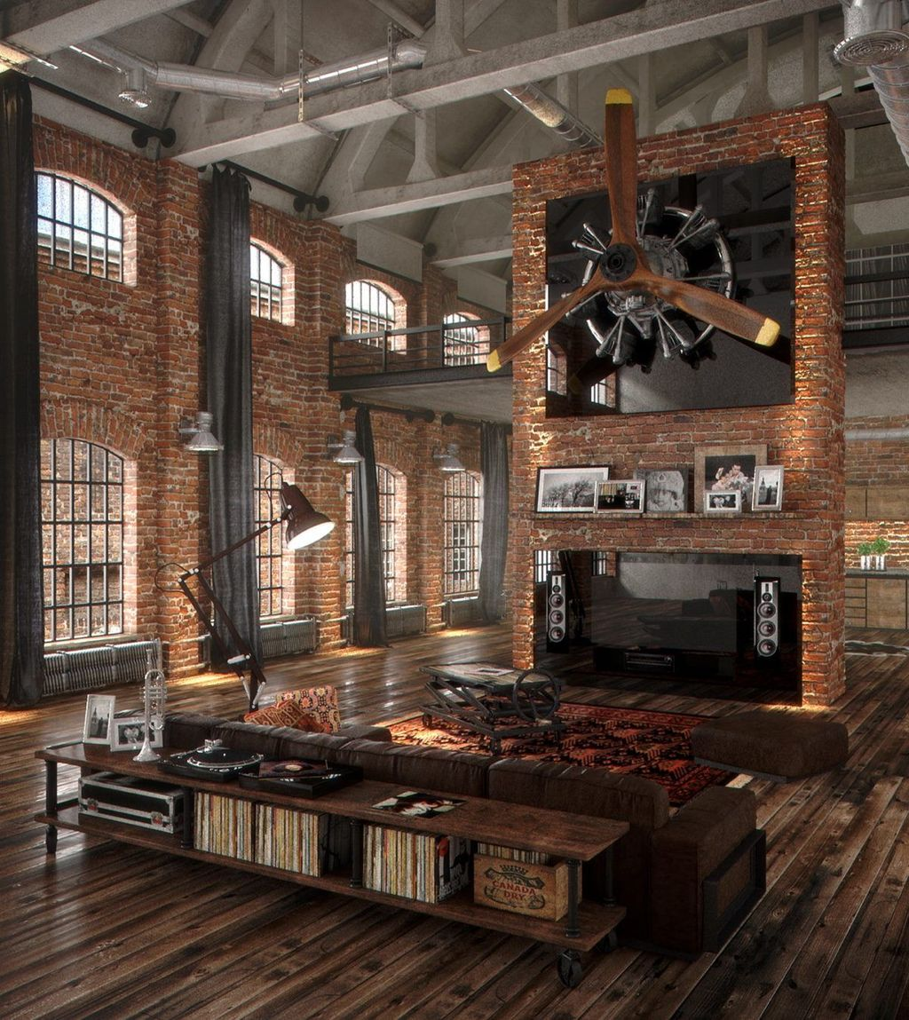 Gorgeous Industrial Living Room Design And Decoration Ideas 30