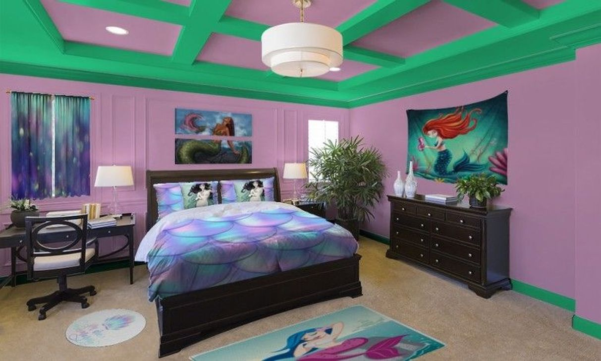 Beautiful Mermaid Theme Bedroom Decor Ideas For Girls 30