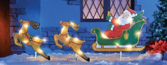 Flying Santa And Reindeer Outdoor Decoration