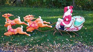Plastic Santa Sleigh And Reindeer Outdoor Decoration