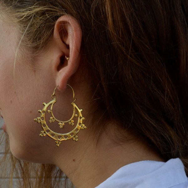 Mahala homewares & accessories Hand crafted Indian double brass hoop earrings