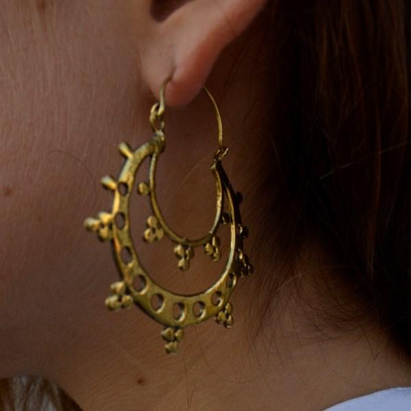 Mahala homewares & accessories Hand crafted Indian double brass hoop earrings
