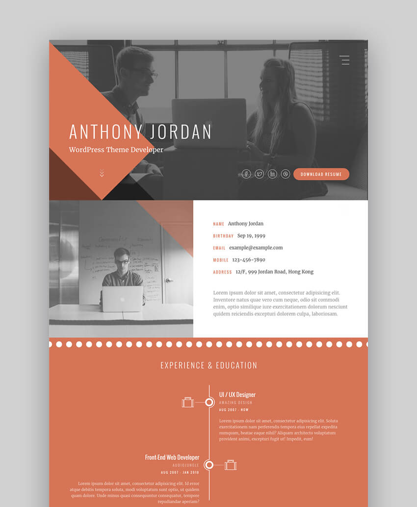 Jordan - Interactive Resume Website Template With Portfolio
