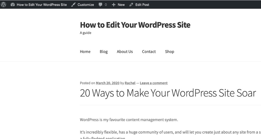 admin toolbar - How to Edit Your WordPress Site