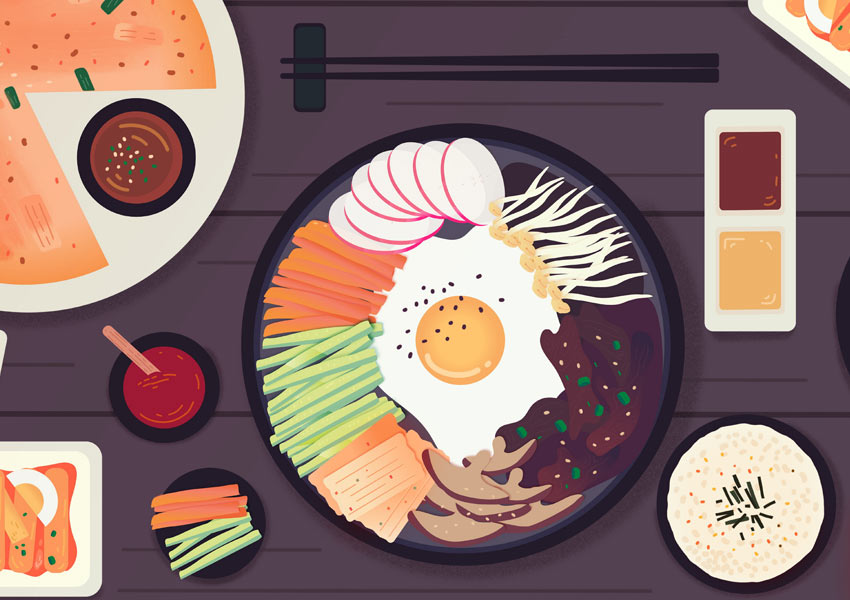 Table with various Korean foods Share