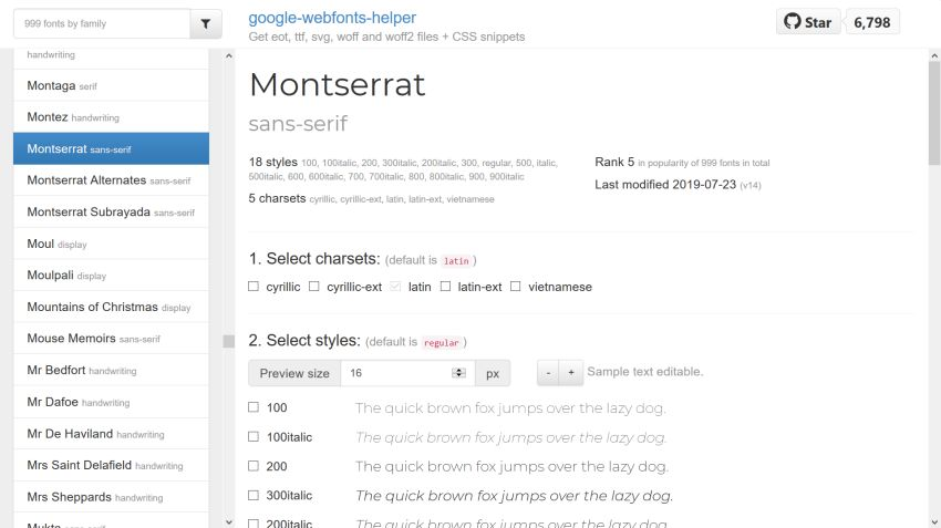 Google Webfonts Helper
