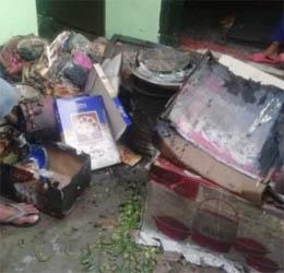घर में लगी आग, मजदूर की बेटी का दहेज जलकर हुआ राख