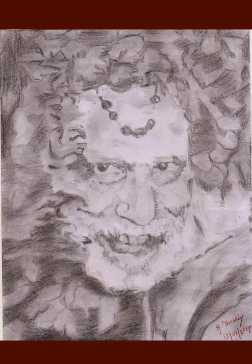 32 Mahaperiyava Smiling Pencil Sketch 13012014