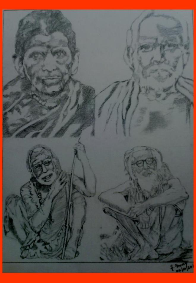 43 Mahaperiyava with Amma Appa Thambi-Pencil Sketch 04102014