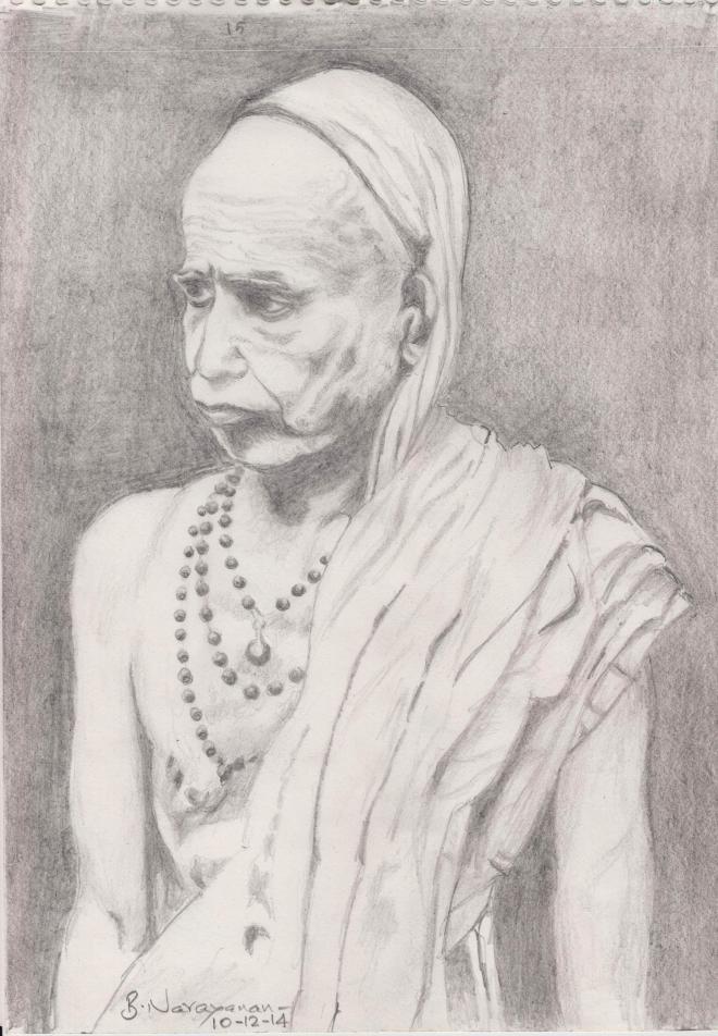 MahaPeriava_BN_Pencil_Sketch