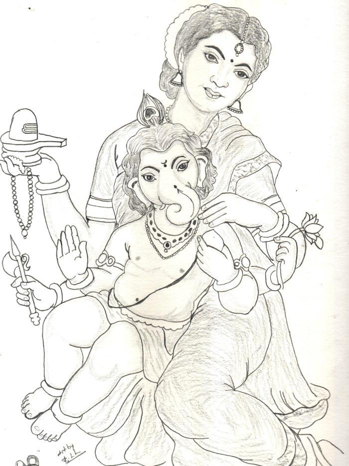 ambal_with_vinayagar_drawing_sudhan