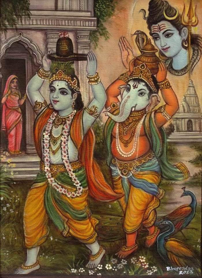 Krishna carrying Shivalinga.jpg